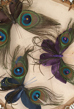 Peacock Feather Butterfly Clips (set of three)