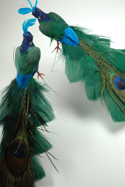 """Blue & Green Feathered Peacocks (set of two) 8"""""""