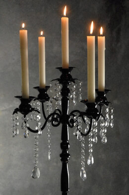 Black Candelabra with Hanging Crystals 32in