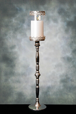 Pedestal Candle Holder with Glass Shade 31in