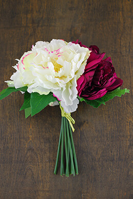 Peony Bouquet in Burgundy & Cream 11.5in