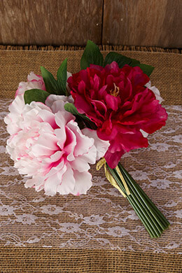 Peony Bouquet Pink 10in