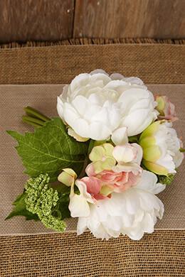 Peony and Hydrangea Bouquet 9.5in