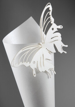 Petal Cones Set (10 pieces) Ivory Paper Cones & Butterfly Escort Cards pkg