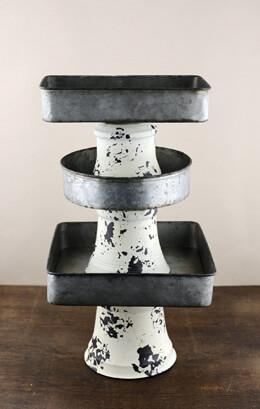 Set of 3 Zinc Pedestal Trays