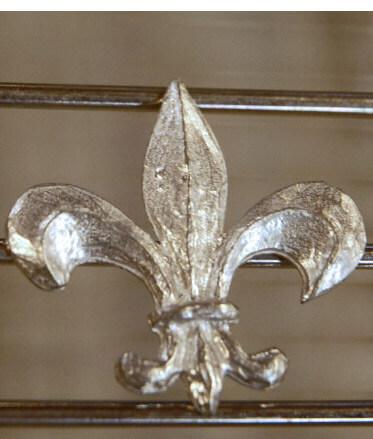 """Pewter Embellishment : 2"""" Fleur De Lis"""