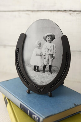 Photo Frame Horseshoe Pewter 3.5x5in