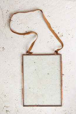 Pressed Glass & Copper Photo Frame: Clear Glass, Leather Hanger, 6 x 8 inches