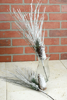 Two 20in Snow Covered Pine Cone & Fir Sprays