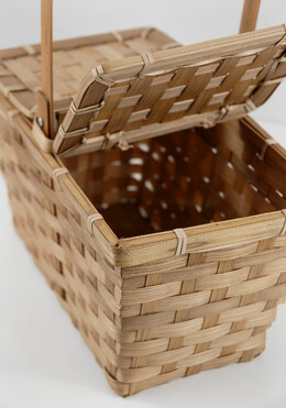 Small Bamboo Picnic Basket 10in