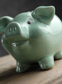 Piggy Bank Mint Green Ceramic 5in