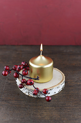 Pillar Candle Gold 3x2.75in