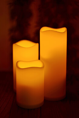 Set of Three Flickering Flameless Battery Op. Pillar Candles w/ Remote