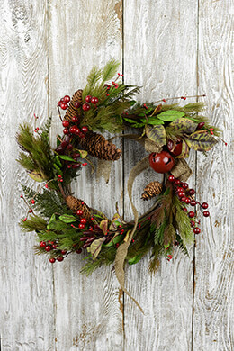 "Christmas Evergreen 20"" Pine & Berry Wreath with Bells, Leaves, Berries, Burlap Bow"