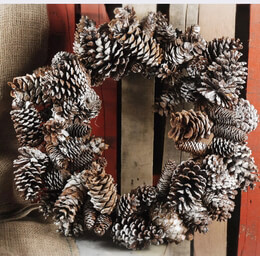 """Pine Cone Wreaths Natural Sugar Pine Cone Frosted 22"""""""