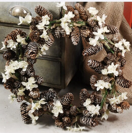 """Pine Cone Wreaths with Silk Paper Whites 15"""""""