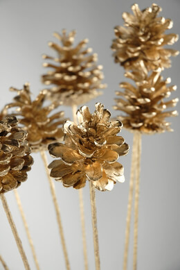 "Pine Cones Gold Leaf 17"" sticks"