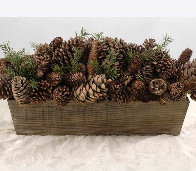 "Pine Cones in Wood Planter Box 28"" Long"