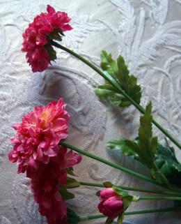 Pink Cerise Pom Pom Mums Silk Flowers