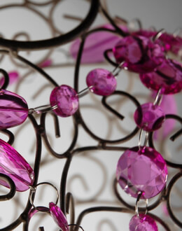 "Pink Crystal Teardrop Garlands 57"" long"