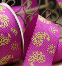 "Pink Grosgrain Ribbon 1.5"" Width Lime Green Paisley Design"