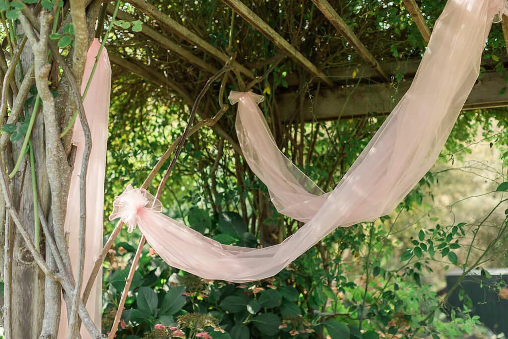 "Pale Pink Hemmed Organza Fabric 54"" x 3 yds"