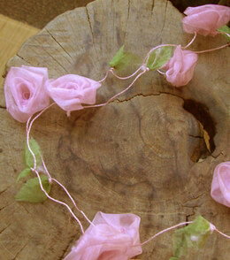 Pink Rolled Roses Garland 9ft