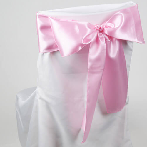 Satin Chair Sashes Pink | Pack of 10