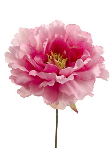 "Pink Silk Peony (6"" wide) Flower Heads (Bouquet of 24)"