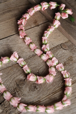Pink Silk Rose Bud Lei
