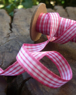 "Pink & White Dutch Gingham Ribbon 3/8"" wide"