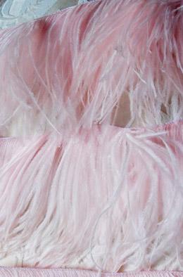 "Pink Ostrich Feather Trim  7"" width  x 5 yards"