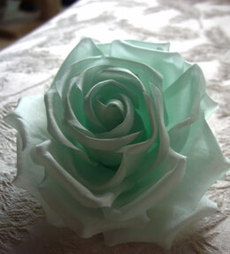 "Pistachio Green 4"" Fabric Rose with Salon Style Clip & Pin"