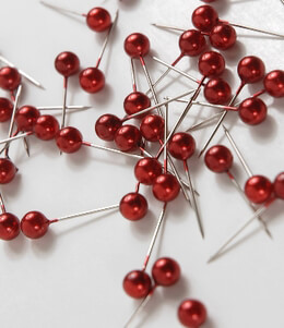 100 Red Pixie Bouquet Pins Pearl Top    (Pack of 100)