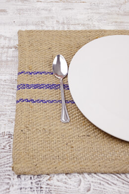 12 Jute Placemats with Purple Stripes