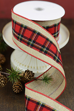 Red Plaid Burlap Ribbon 2.5 in x 10yds