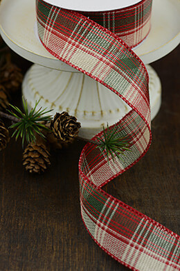 Red & Green Plaid Burlap Ribbon 1.5in x 10yds