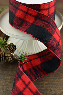 Plaid Ribbon Black and Red 2.5inx10yd