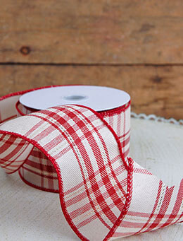Plaid Canvas Ribbon Ivory and Red 2.5in x 24ft