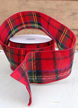 Plaid Ribbon Red and Green 2.5in x 24ft