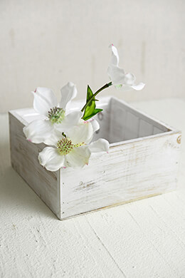 White Wood Square Planter Box 7x7