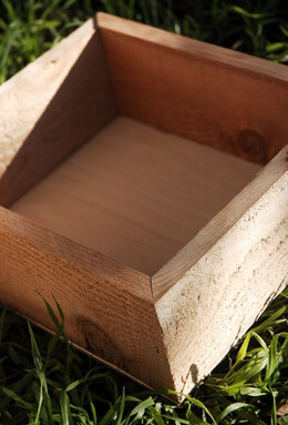 Square Walnut Stain Wood Planter Box 10in
