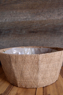 "Burlap Covered Round Basket Planter 10"" x 4"" w/Liner"