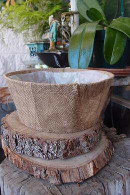"Burlap Covered Round Basket Planter 10"" x 4"" w/Liner"