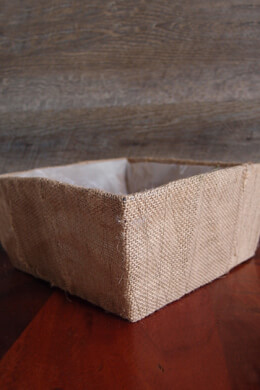 "Burlap Covered Rectangle Basket Planter 10"" x 4"" w/Liner"