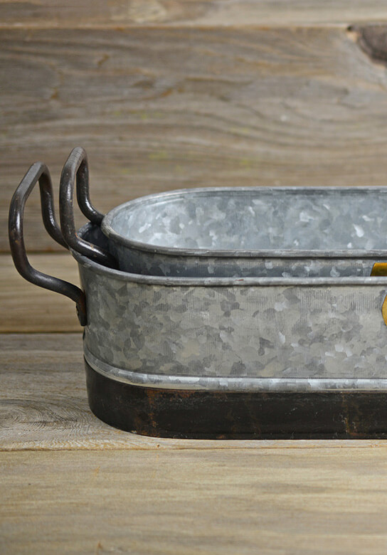 2 Planter Trays Metal Galvanized with Handles Set of 2