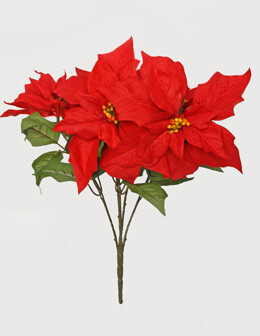 Poinsettia Spray Red 19in