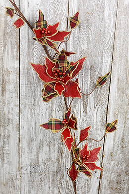 Poinsettia Garland Plaid 48in