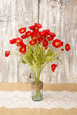 Poppy Spray Red 23in (Pack of 12)