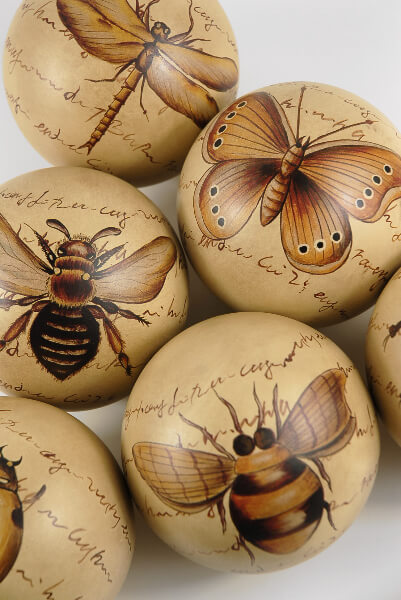 Porcelain Balls Entomology |  Set of 6